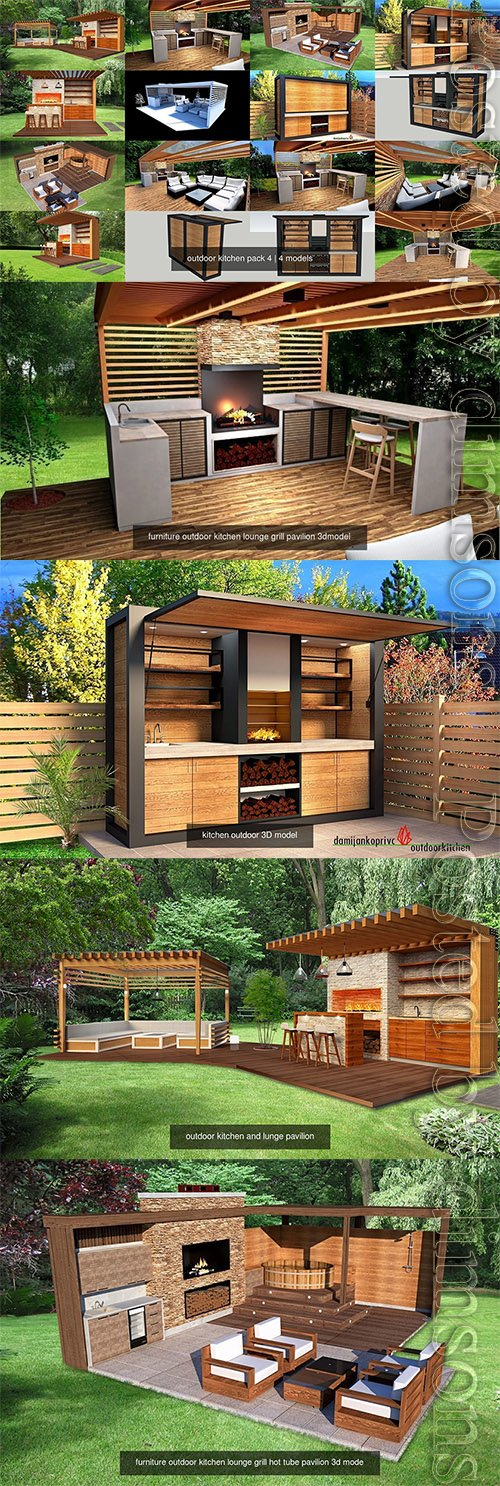 outdoor kitchen pack 4 3D Model Collection