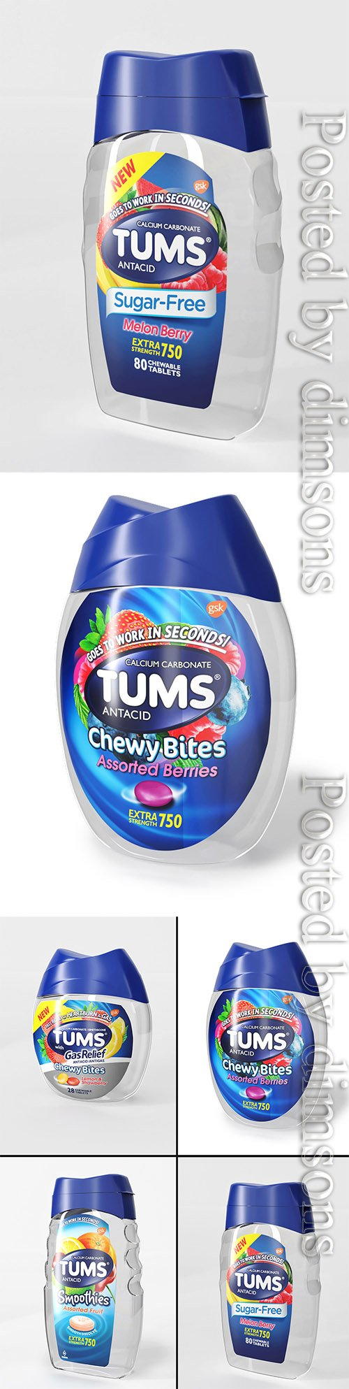4 models packaging Tums 3D model