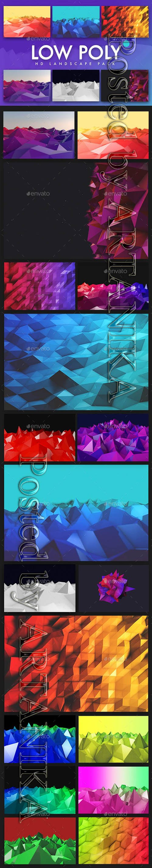 GraphicRiver - Low Poly Landscapes Backgrounds 19000294