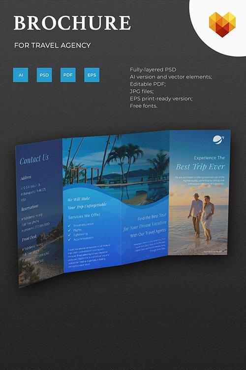 Travel Agency Brochure Corporate Identity PSD » NitroGFX