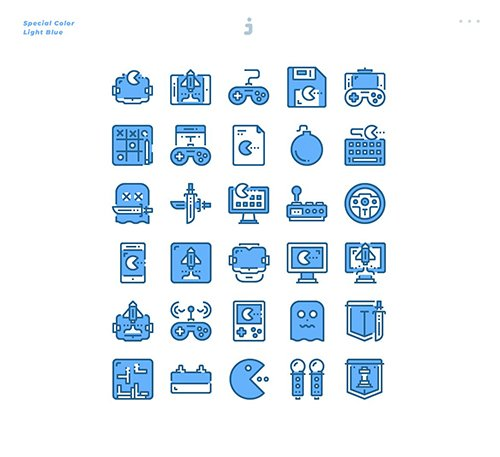 30 Game Element Icons - Light Blue