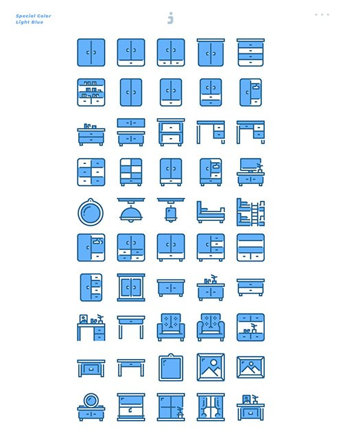 50 Furniture Icons - Light Blue