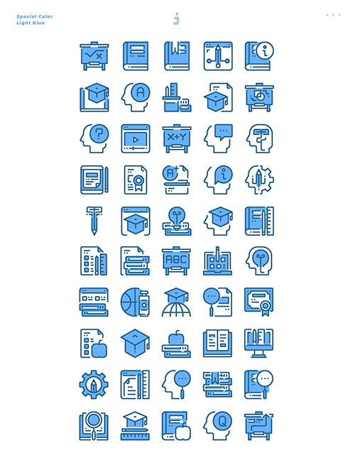 50 Education and Learning Icons - Light Blue