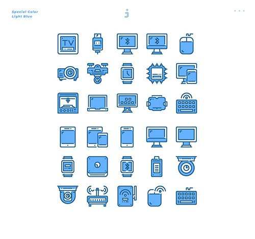 30 Device and Technology Icons - Light Blue