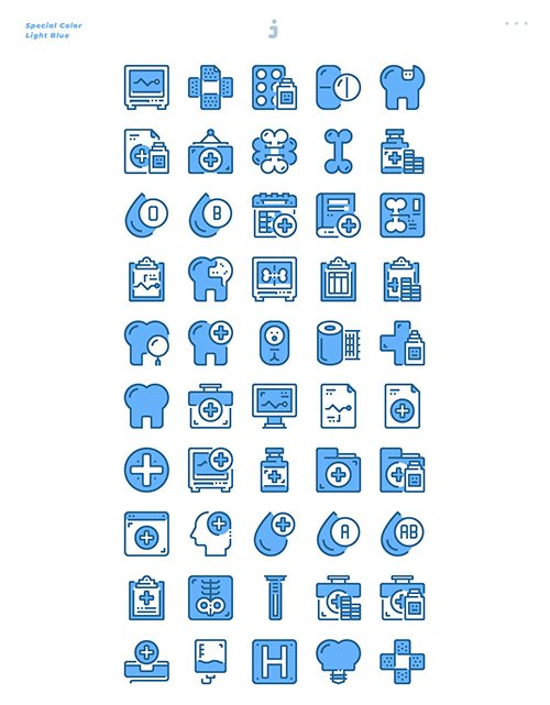 50 Medical and Healthcare Icons - Light Blue