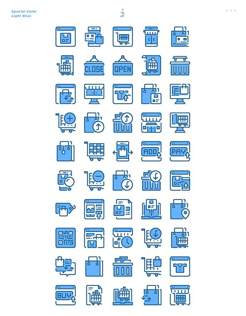 50 Shopping and E-Commerce Icons - Light Blue
