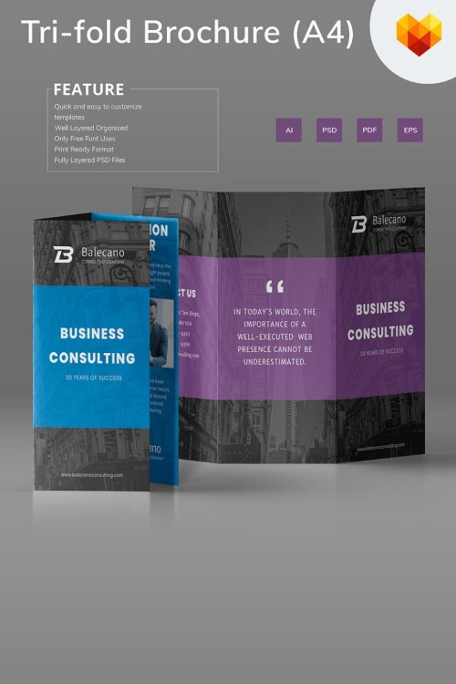 Business Consulting Tri-fold Brochure Corporate Identity