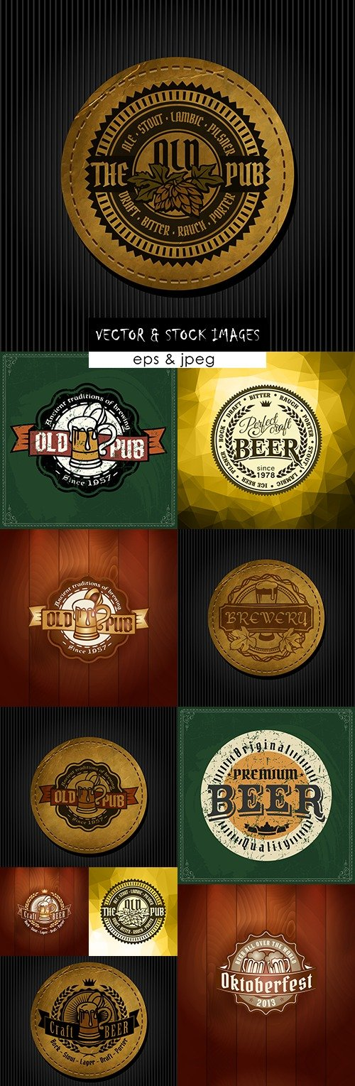 Beer and brewing festival logo grunge premium