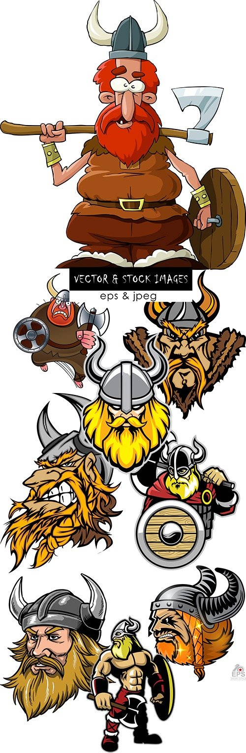 Medieval Viking with weapon cartoon an illustration 3