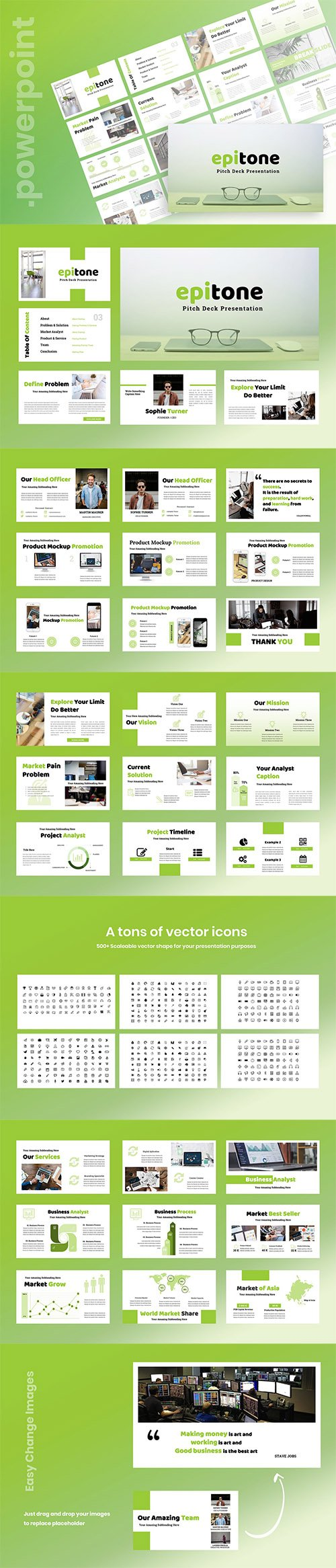 Epitone - Pitch Deck Powerpoint, Keynote and Google Slides Templates