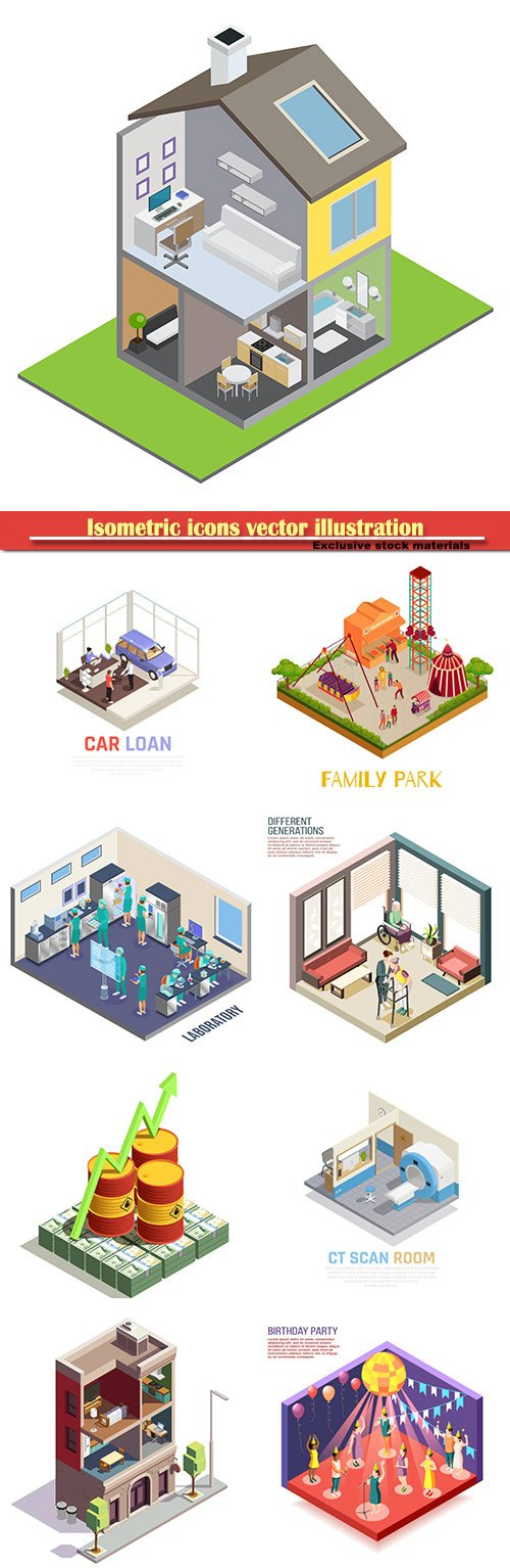 Isometric icons vector illustration, banner design template # 15