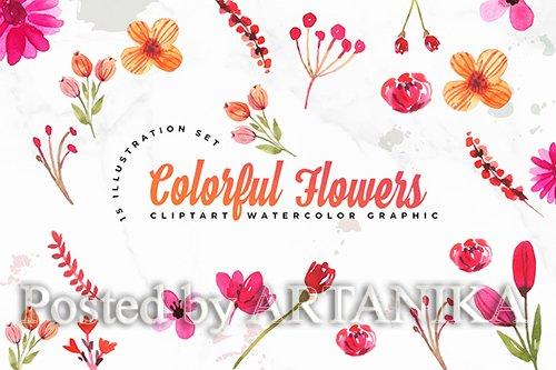 15 Watercolor Flowers Set Illustration