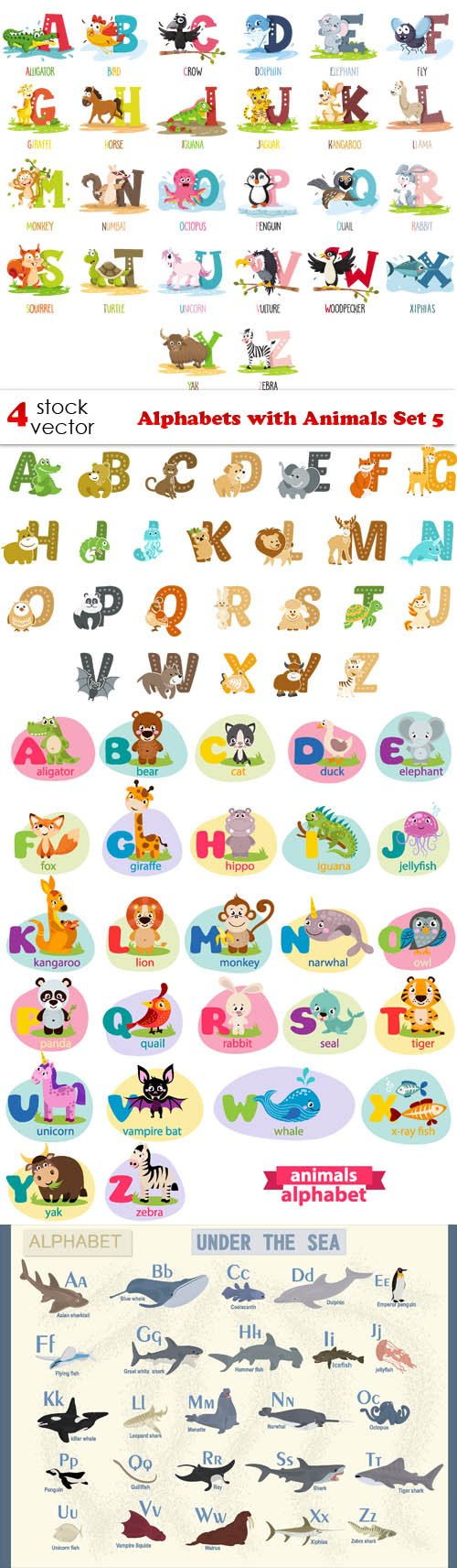 Vectors - Alphabets with Animals Set 5