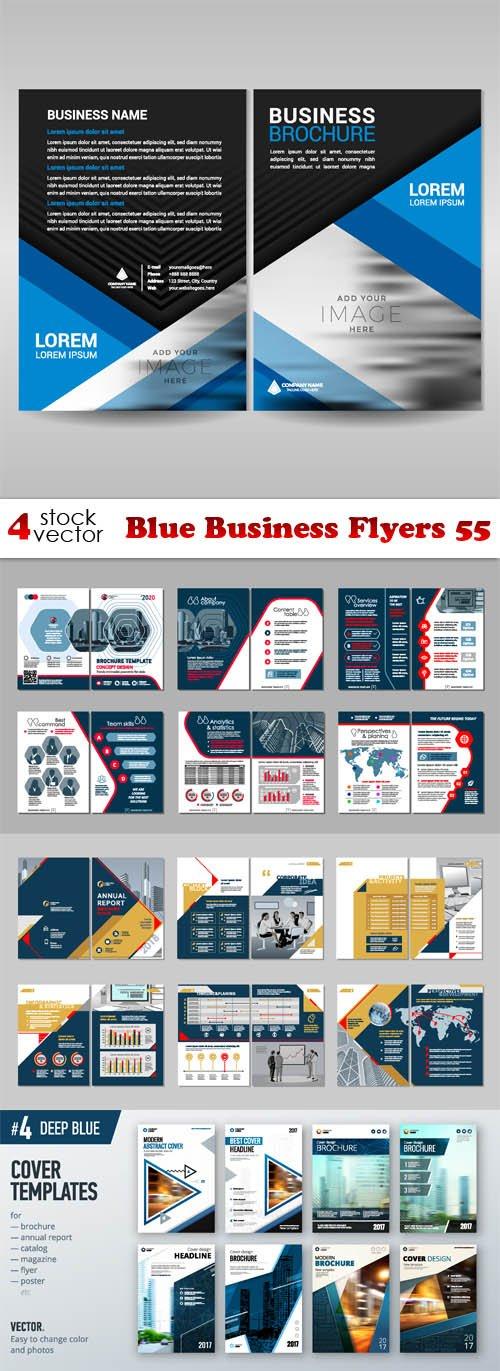 Vectors - Blue Business Flyers 55