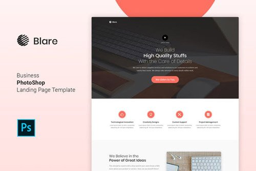 Blare - Business Photoshop Landing Page Template