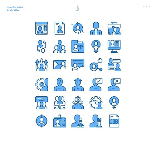 30 Human resource Icons - Light Blue