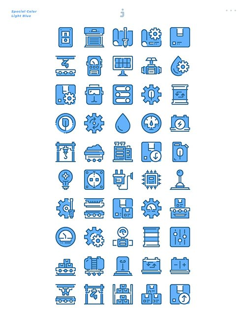 30 Industrial Icons - Light Blue