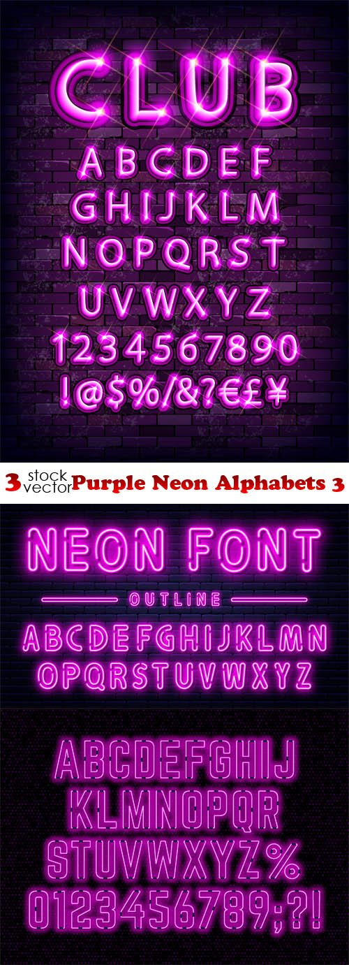 Vectors - Purple Neon Alphabets 3