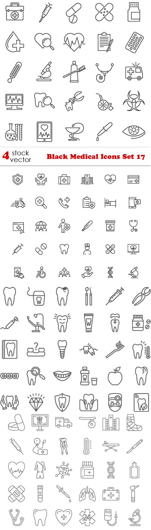 Vectors - Black Medical Icons Set 17
