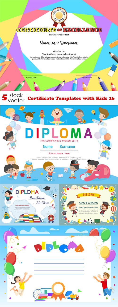 Vectors - Certificate Templates with Kids 26