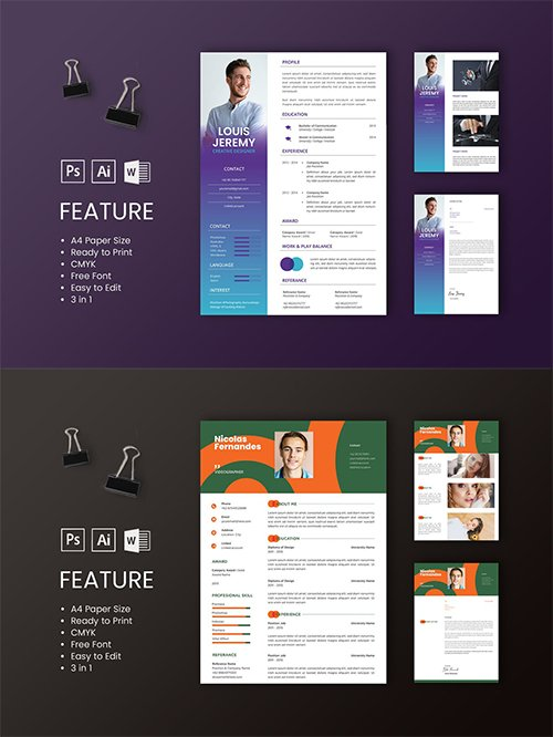 Professional CV And Resume Templates