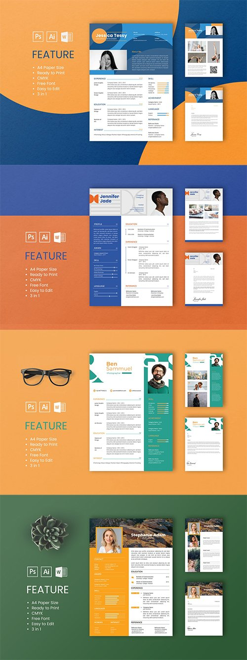4 Professional CV And Resume Templates