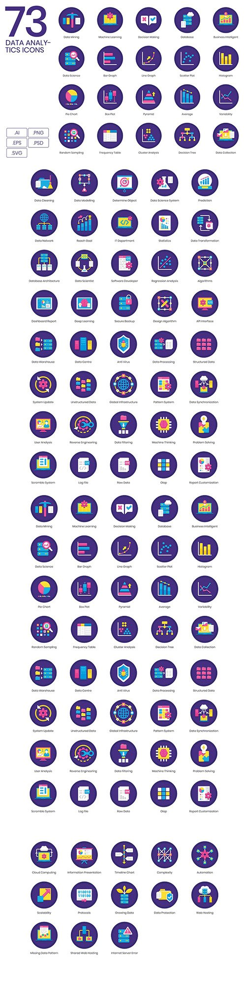 73 Big Data & Analytics Icons | Orchid Series