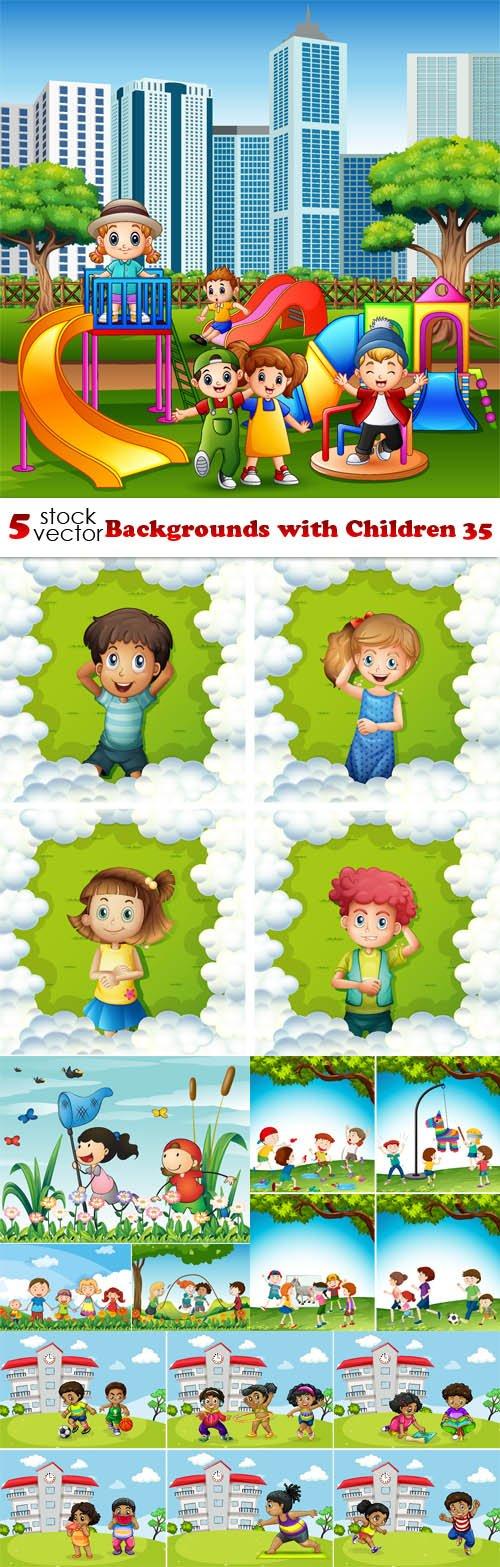 Vectors - Backgrounds with Children 35