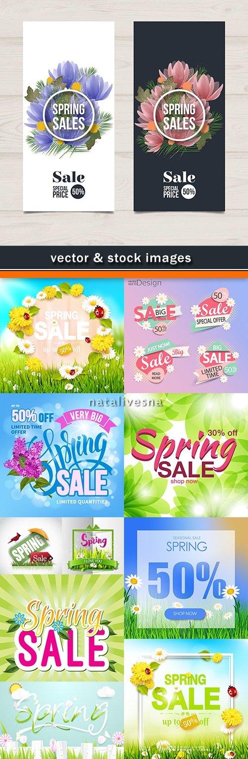 Spring special discounts sale decorative design illustration
