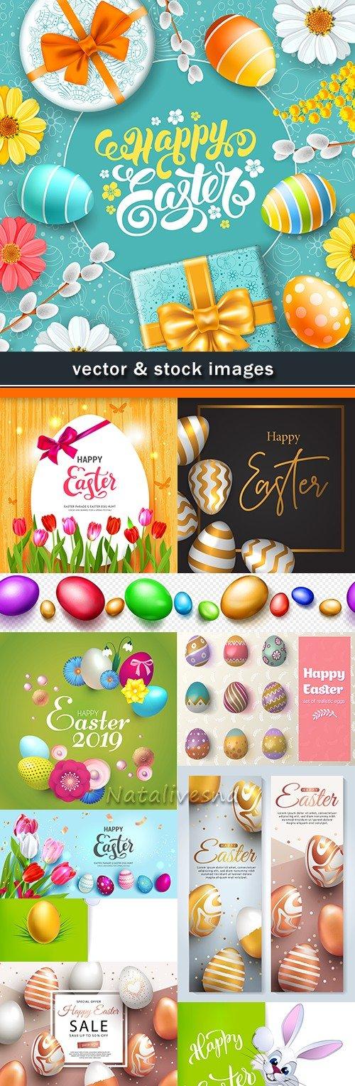 Happy Easter decorative illustration design elements