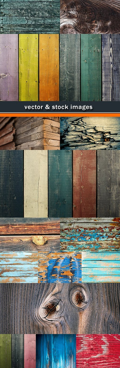 Color wooden board with knots and scratches