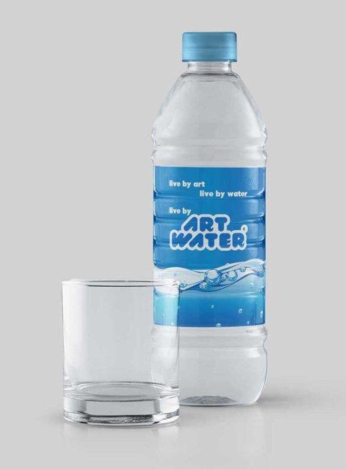 Water Bottle Label PSD Mockup