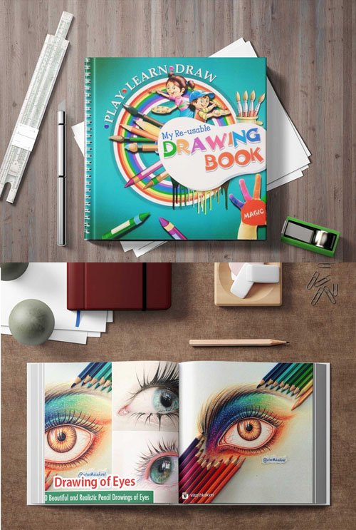 Premium Stationary Book Artwork Design PSD Mockup