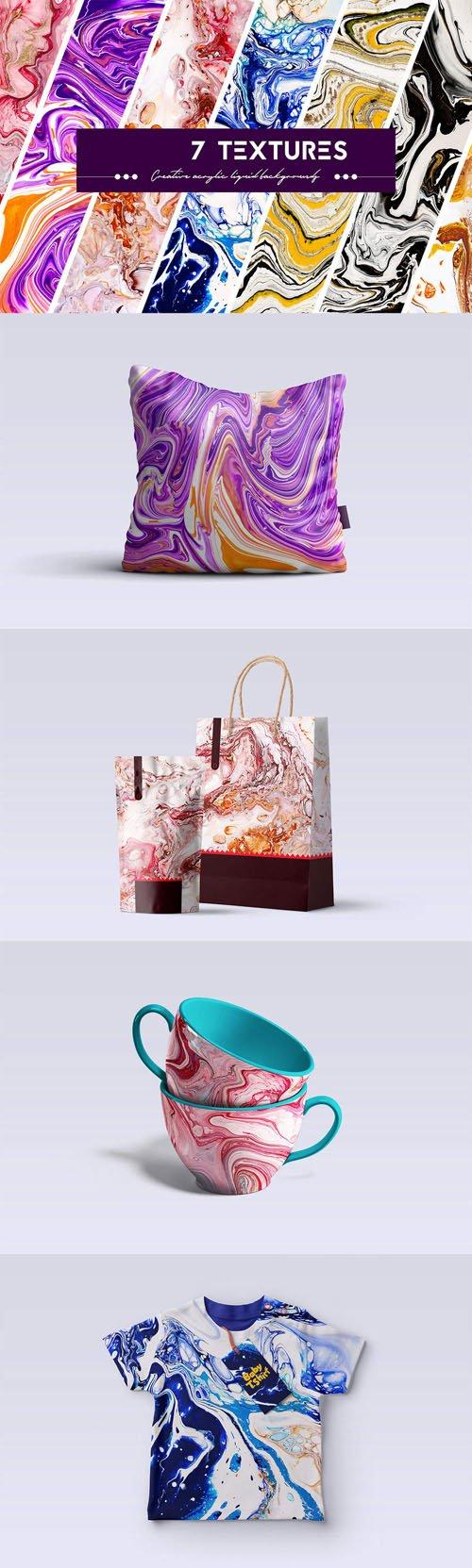 7 Acrylic Liquid Paints Textures