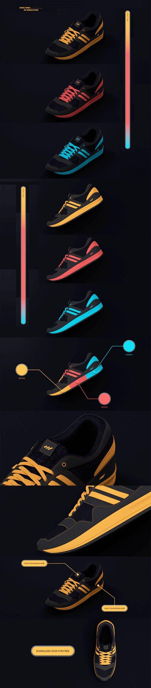 Shoe Sneakers PSD Mockups