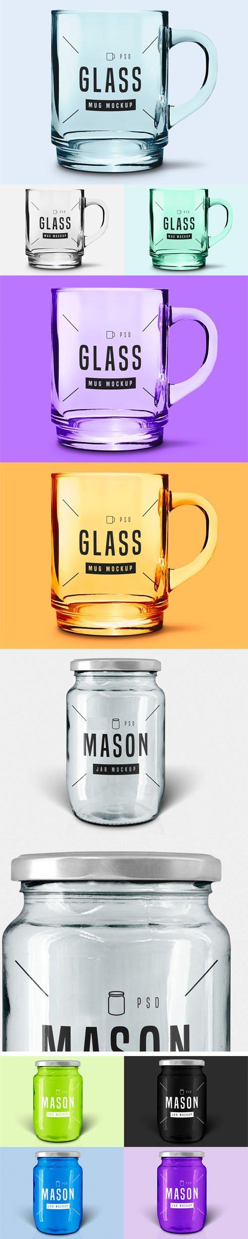 Glass Mug & Jar PSD Mockups