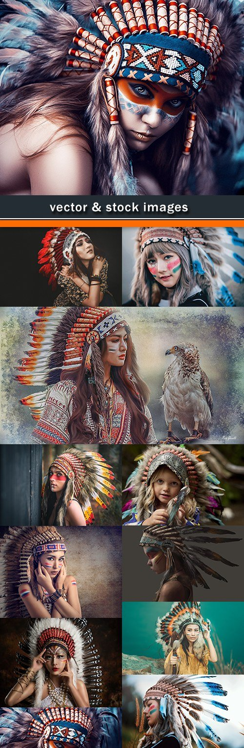 Girl soldier an Indian dress on head from feathers