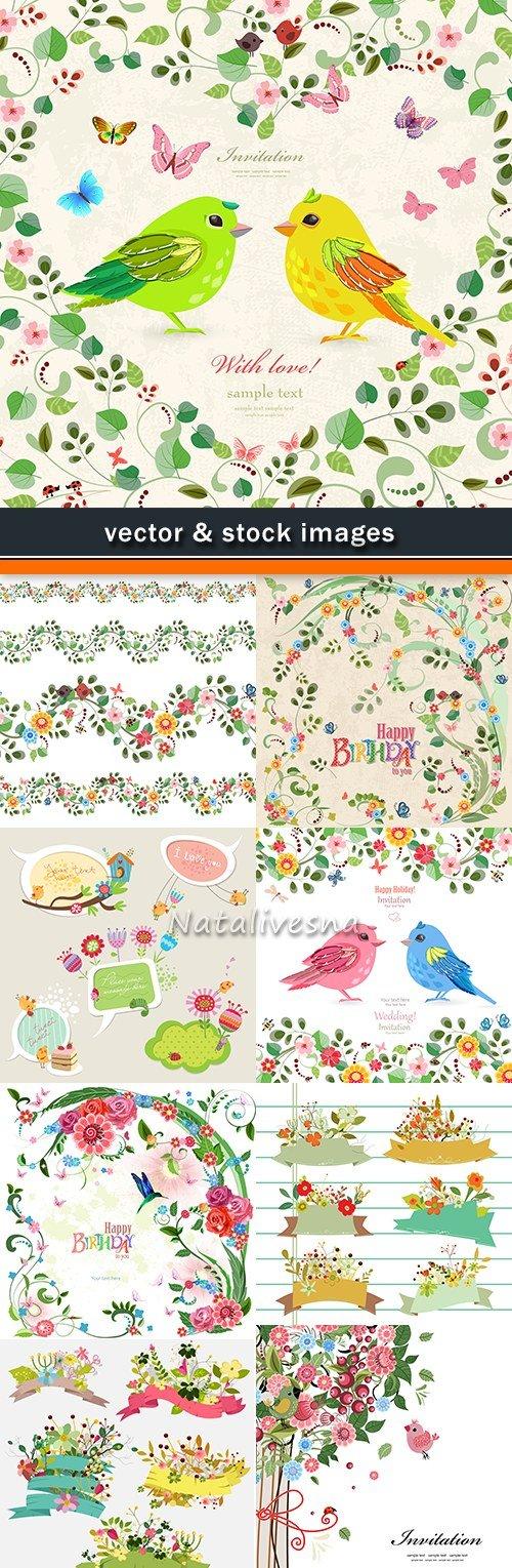 Wedding and birthday flower decorative design invitation