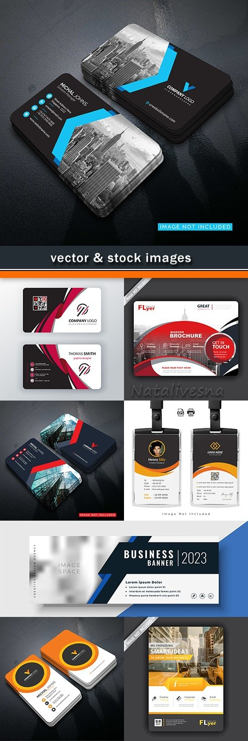 Business card brochure abstract templates and gift voucher 40