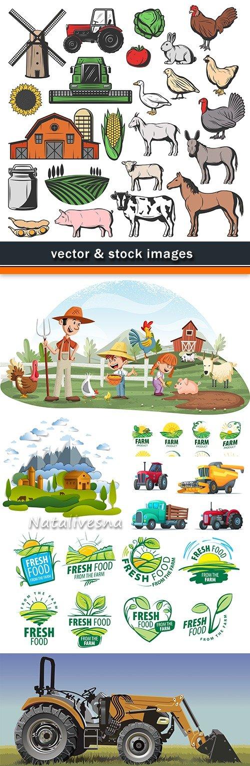 Farm tractor agriculture natural products design emblem 2