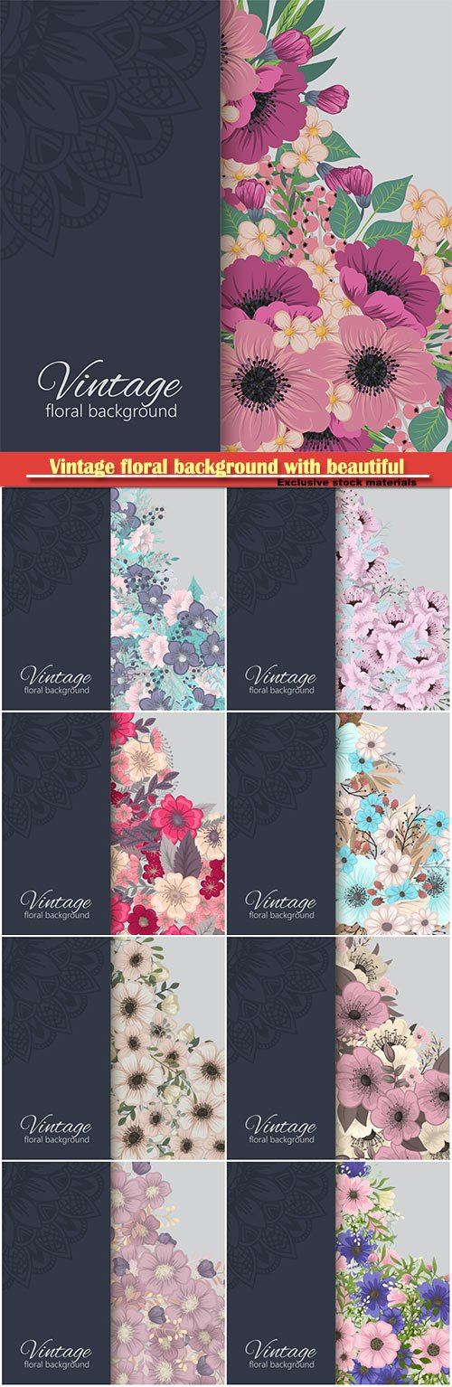 Vintage floral background with beautiful ornament