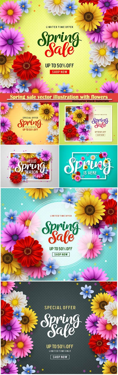 Spring sale vector illustration with flowers
