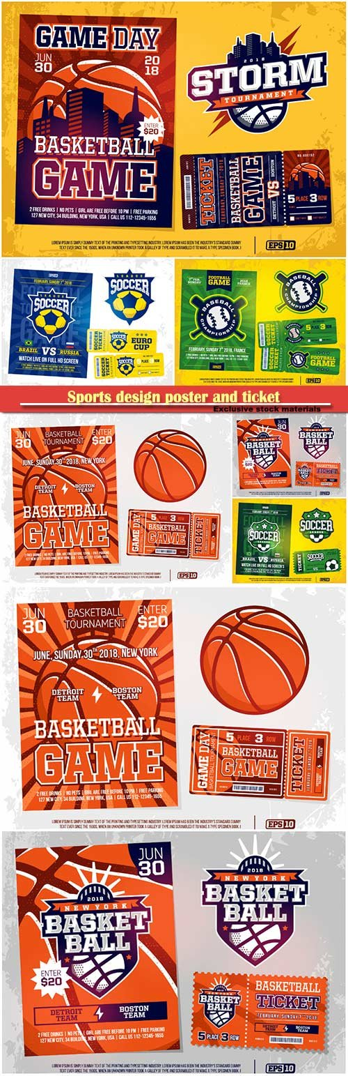 Sports design poster and ticket and emblem for baseball, soccer, basebal