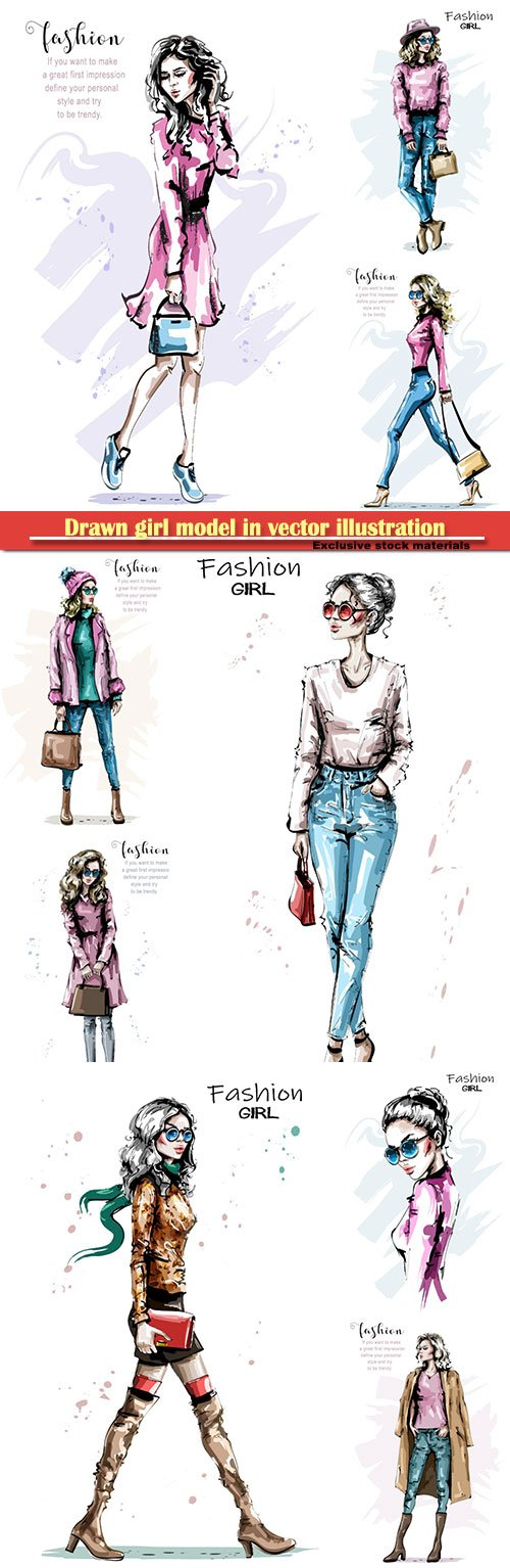 Drawn girl model in vector illustration