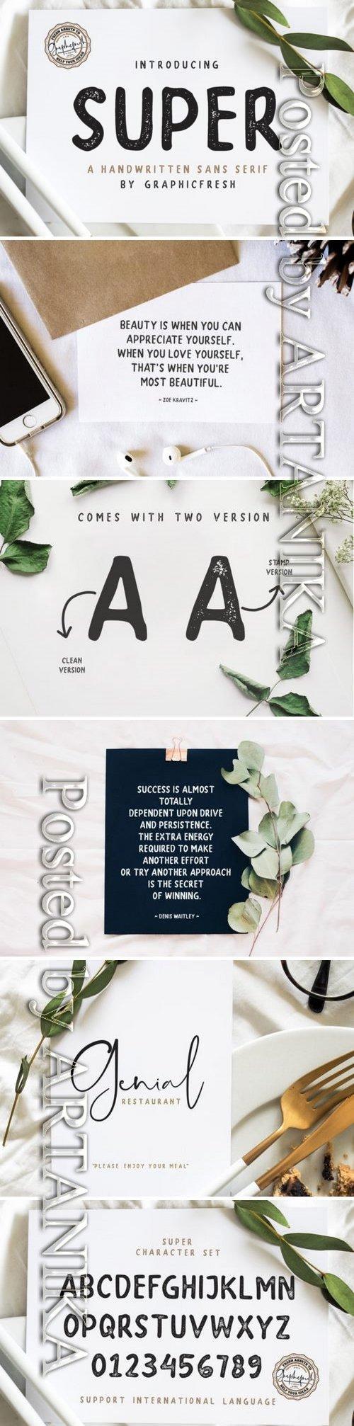 Fontbundles - SUPER - A Handwritten Sans Serif 232401