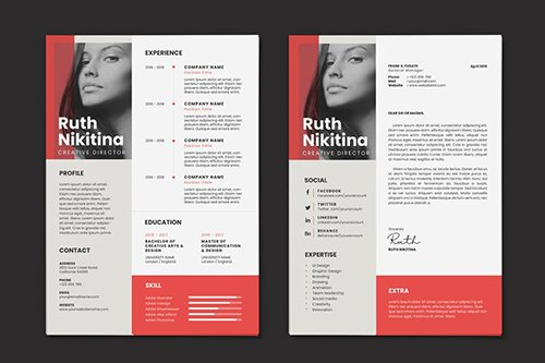 Clean Minimalist CV Resume AI and PSD Flyer Vol.08
