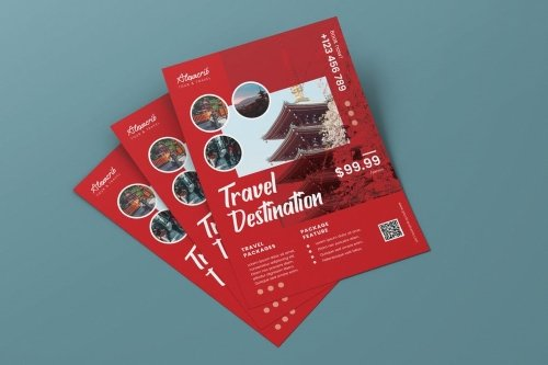 Travel to Japan Vacation AI and PSD Flyer