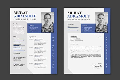 Clean Minimalist CV Resume AI and PSD Flyer Vol.10