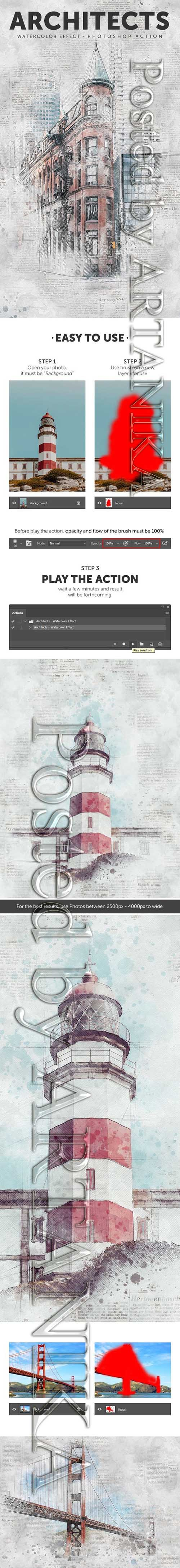 GraphicRiver - Architects - Watercolor Effect Photoshop Action 21364345