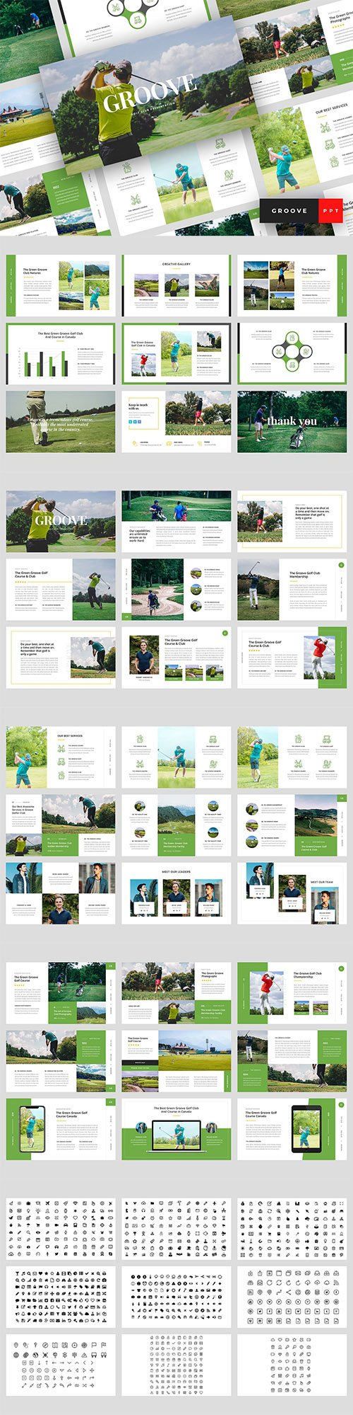 Groove - Golf Club Powerpoint Google Slides and Keynote Templates